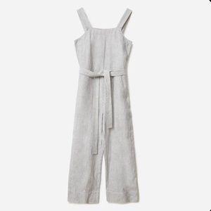 Everlane Linen Stripe Square-Neck Jumpsuit, Size 6
